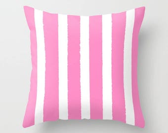 Bubblebgum Pink and White Striped Throw Pillow . Pink Pillow . Cushion . Pillow . Pink Striped Pillow . Pink Cushion 14 16 18 20 inch
