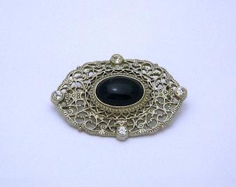 Silver Brooch - Black Onyx - Clear Rhinestones