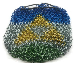 Large chainmail dice bag - Zelda theme chainmaille pouch