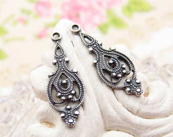 Ornate Antiqued Silver Ox Victorian Filigree Drops Earring Dangles -4