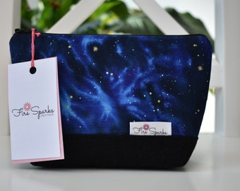 Zipped Pouch - Night Sky - makeup bag, cosmetic bag, toiletry bag, accessories bag, pencil case, small storage bag, black canvas