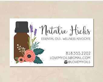 printable mommy calling cards - hand illustrated essential oils - floral no.1 - personalized - essential oil cards - DIY - customized