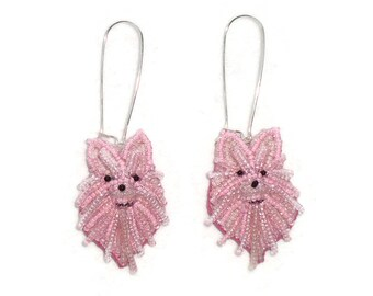 Beaded White, Black, or Pink POMERANIAN keepsake bead embroidery dog earrings- Gift for Her (Made to Order)