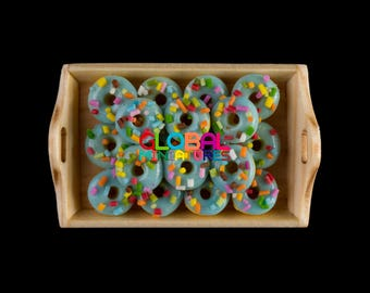 Dollhouse Miniatures Blue Sprinkles Donut on Wooden Tray with Handle Bakery and Pastry Food Decorating Supply - 1:12 Scale