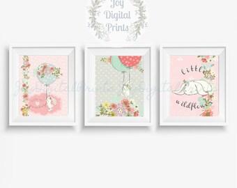 Girl Nursery Print Set, Woodland Digital Print, Nursery Decor, Watercolor Animals, Bunny Rabbit, Shabby Chic, Pink Grey, Bunny Collection