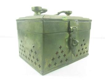 Vintage Brass Cricket Box, trinket box, brass box, cricket cage, ornate box, jewelry box,