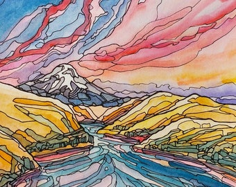 Columbia River Gorge,art print,landscape art,abstract painting,print,Oregon,Portland,Bend,Mt Hood,pen and ink,sunset,8x10,mountain