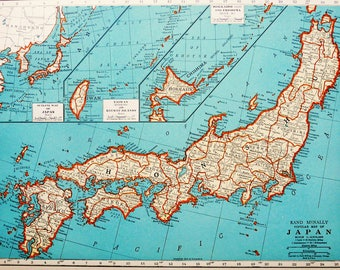 1938 Vintage map of JAPAN. Tokyo. 80 years old chart