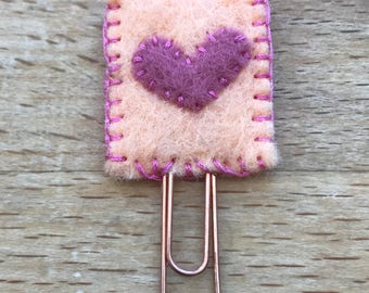 Cute handmade felt heart Valentine's paperclip / bookmark