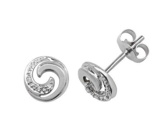 9ct White Gold 0.02ct HSi Diamond Swirl 6mm Stud Earrings