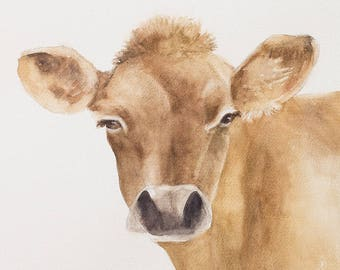 Farmhouse art farmhouse chic art cow painting in watercolor peek a boo animal print SEE PHOTOS to view all 15 PRINTS 11x14