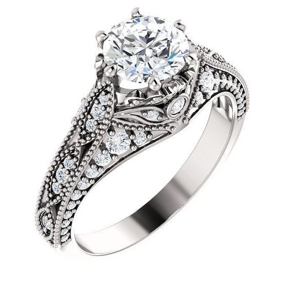 14K White Rose Yellow Gold Vintage Style Diamond Engagement Ring Setting Semi-Mount