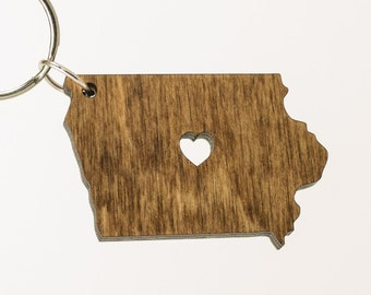Iowa Wooden Keychain - IA State Keychain - Wooden Iowa Carved Key Ring - Wooden IA Charm