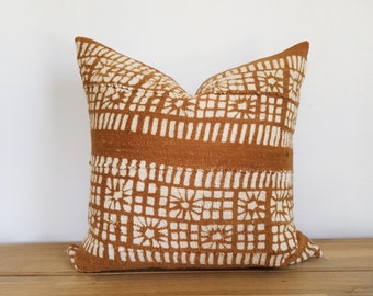 Authentic Mudcloth Pillow Cover, Burnt Sienna, Sienna, Caramel Brown, Off-White, White, Cream, Floral, Squares, Rectangles