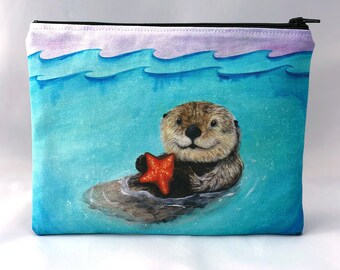 Sea Otter Serenity - Zipper Pouch - Whimsical otter floating with orange starfish - Art by Marcia Furman