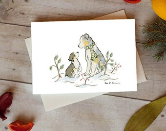 Aussie Christmas Card, Australian Shepherd Holiday, Card 5 x 7  Card, Pack of 12, Pack of 24, Blank Card, Dog Christmas Card, Aussie Lover