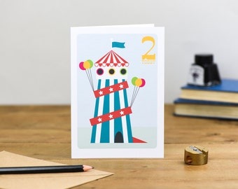 Helter Skelter Circus Children's Cute Colourful Birthday Card 1st 2nd 3rd 4th 5th 6th