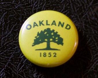 """1"""" Oakland CA flag button - California, city, pin, badge, pinback"""