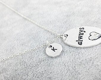 Always harry potter pendant necklace, always necklace, word charm, personalized, custom, initial necklace, harry potter always, always gift