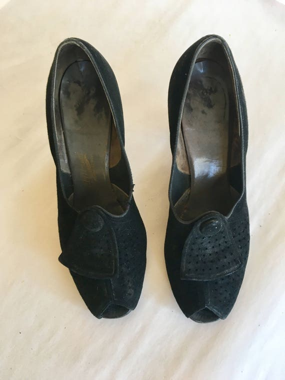 suede toe pumps sz 1940s peep BELL vintage 5 shoes 8 XwvtxqwT