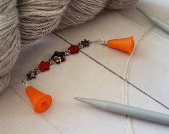 Star Point Protectors -for Knitting Needles -Knitter Accessory -Knit Notion -Beaded Point Protectors for Knitters -Orange -Silver -Black