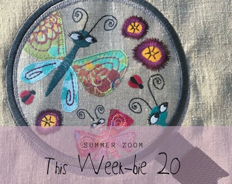 This Week-bie 20 ZOOM in on SUMMER - Machine Embroidered Magnifier Glass zooming in on little summer critters, 5 cute and whimsical designs