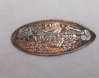 Vintage San Francisco Flattened Penny - Souvenir Coin From Machine, Worn Silverplate