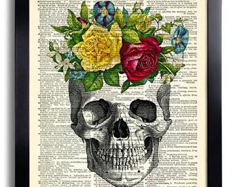 Skull Art Print Rose Roses Flowers, Anniversary Gift, Dictionary Art Print, Red Roses Wall Decor, Skull Poster Artwork, Cool Bedroom Art 483