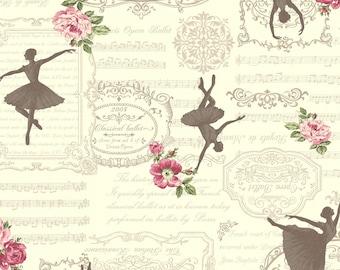 1/2 yard Quilt Gate USA   Ruru Bouquet Prima   Silhouette of Ballerina on Cream   # RU2260-13A