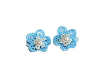 2pc Beaded Flower Hair Clips on French Barrette. Light-Blue & White Hair Accessories for Toddler Girl Teen Bridesmaid. French Beaded Flowers
