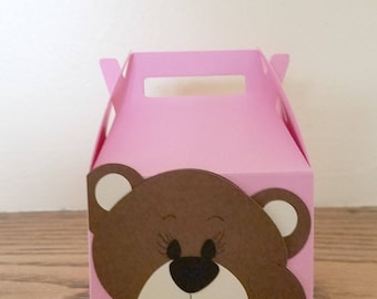 Mini Teddy Bear Gable Box, Baby Shower Favor Box, Gift Box for Baby