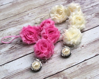 Shabby Rose Paci Clip, Pacifier Clip, Binky Clip, Paci Leash,Soothie Clip,