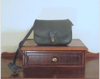 Dads Grads Sale Coach Prairie Bag In Bottle Green Leather With Brass Hardware- Style No. 9954- VGC