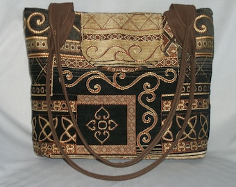 Gift for Mom Purse Medium-Sized Tapestry Celtic Black Gold Brown Many Pockets
