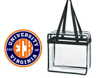 Univ of Virginia UVA Custom Monogram/ Personalized Game Day Clear Tote Bag with Zipper Closure