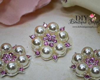 Light PINK Rhinestone & Pearl buttons Crystal Embellishments Headband Supplies flower centers Metal Flat back  5 pcs 26mm 459063