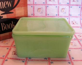 Jadeite Refrigerator Dish w/ Lid by McKee 1950's