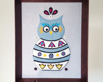 Framed embroidery art wall hanging Russian Owl  - embroidered home decor - owl lover gift - wisdom - shadowbox - all hand sewn - OOAK