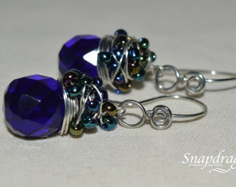 Deep blue faceted glass messy wrap briolette earrings