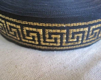 GREEK KEY gold on black jacquard ribbon