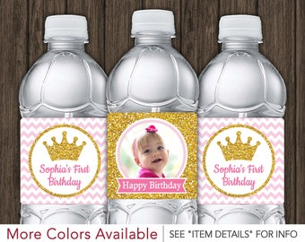 Princess Water Bottle Labels - Printable Pink and Gold Birthday Party Decorations - DIY Digital File