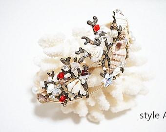 100%handmade, original design, princess's crown with conches deco