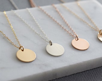 Disc Necklace, Medium Disc, Gold Circle Necklace, Initial Necklace, Personalized Jewelry, Circle Necklace, Layering Necklace, Gold Circle