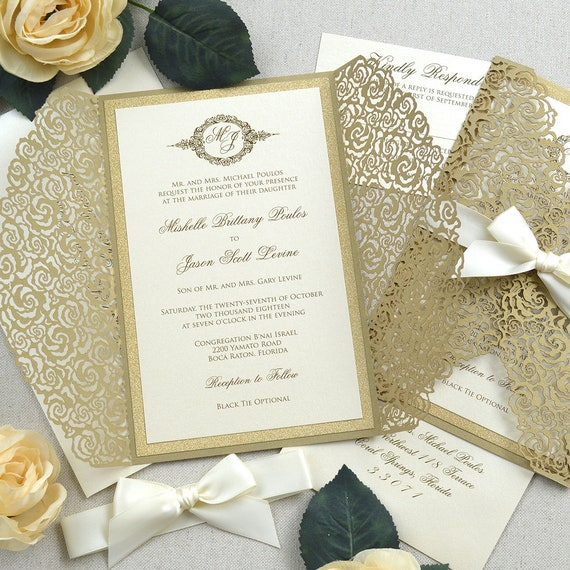 GOLD ROSES Laser Cut Invitation - Gold Laser Cut Wedding Invitation with Gold Glitter and Ivory Ribbon Bow