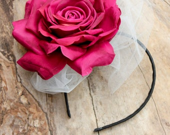 Headband Rose, Hair Accessory, Headband Pink Rose, Bridal Accessory