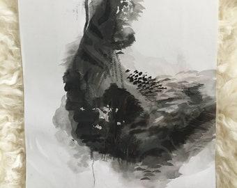 """Aquarelle abstraite de 9 """"x 12"""", charbon de bois et argent feuille de peinture"""