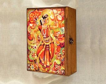 Indian classical dance painting, Bharatanatyam, Goddess dancer, Indian woman dancer, Indian woman art jewelry box, 7x10