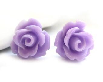 SALE - Lavender Rose Stud Earrings