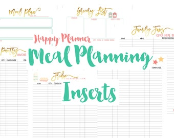 Happy Planner Meal Planning Printable Planner Inserts PDF Instant Download