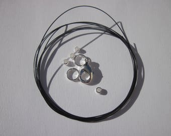 1 meter of cable wire-wrapped, ring, clasp, crimps (K18